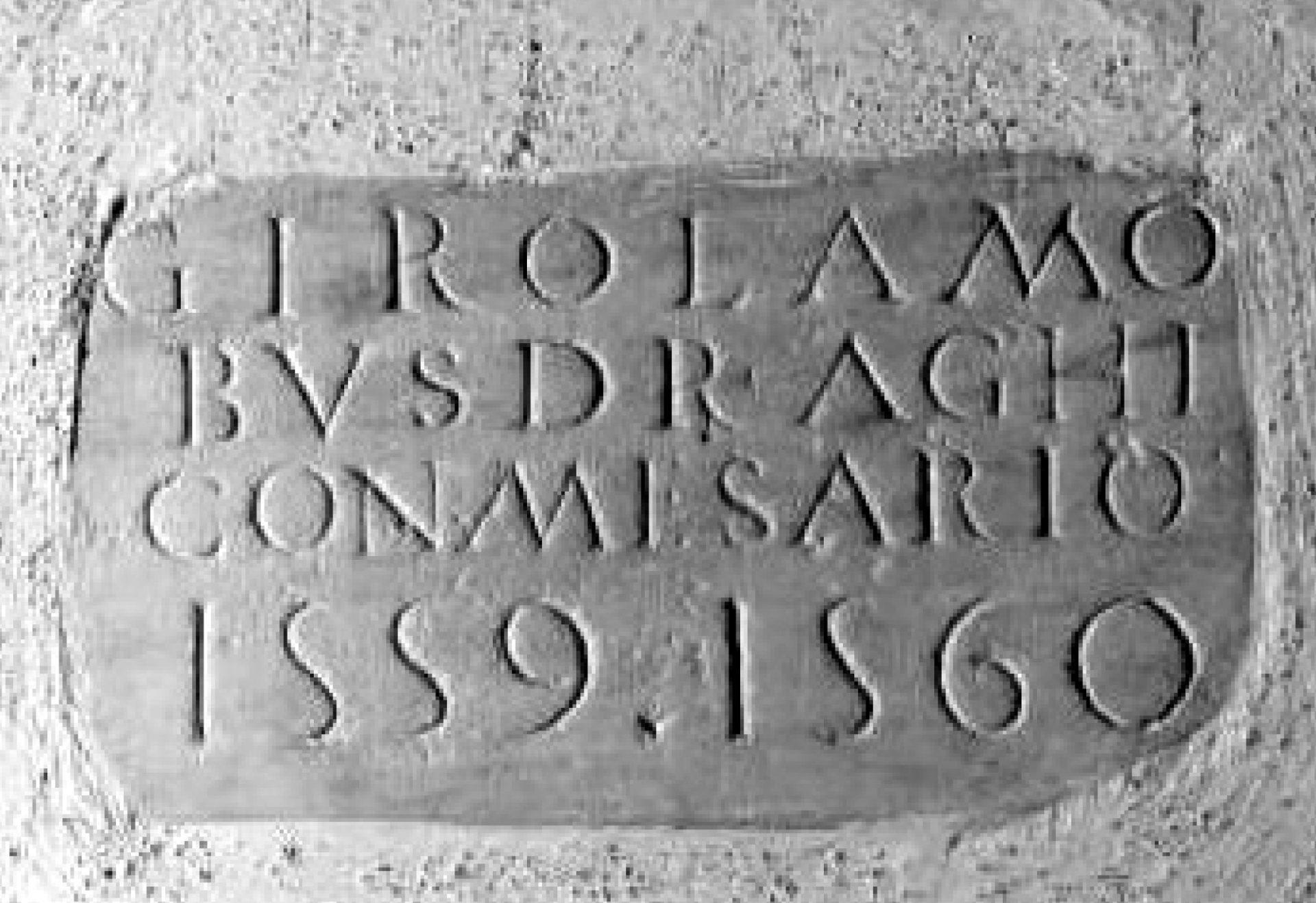 Targa della fondazione della chiesa della SS. Annunziata, dià di S. Pietro