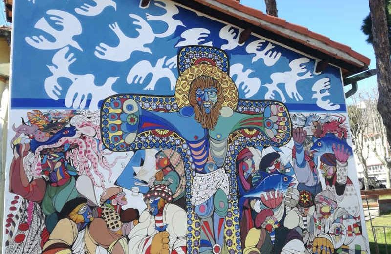 Il Cristo dei Pescatori, murale di Giovanni Lazzarini, 1976
