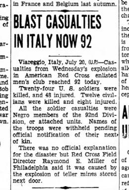 Articolo d'epoca sull'esplosione a Viareggio