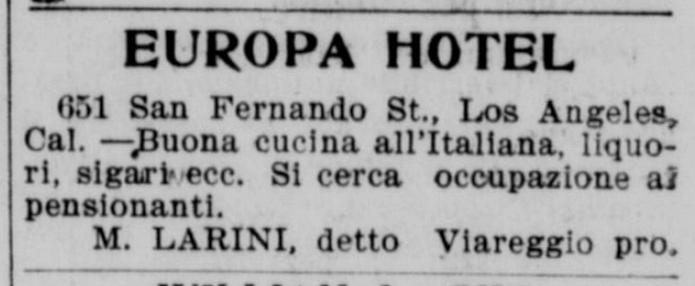 Pubblicità dell_Hotel Europa di Los Angeles nel 1900
